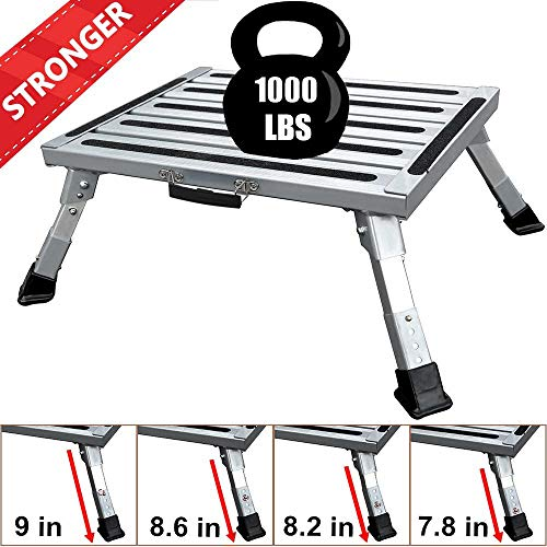 FLSEPAMB Portable RV Step Aluminum Folding Platform Steps with Anti-Slip Surface,Rubber Feet,Reflective Stripe,Grip Handle, More Supports Up to 1000 lbs+