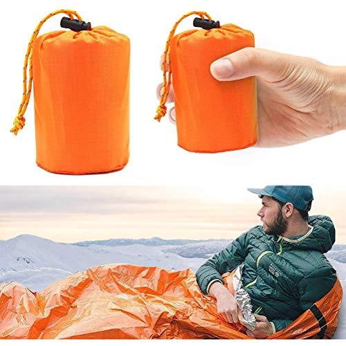 Yumoo Saco de dormir de supervivencia de emergencia, manta térmica, impermeable, ligero, bolsa de nailon portátil para camping, senderismo, actividades de aventura al aire libre