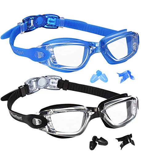 EverSport Swim Goggles, Swimming Glasses for Adult Men Women Youth Kids Child, Anti-Fog, UV Protection, Blue&Black