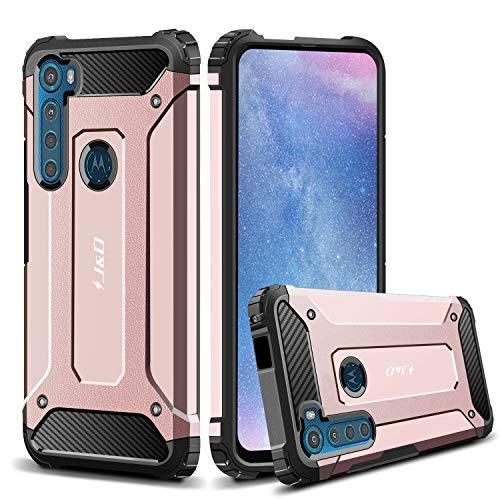 JundD Kompatibel für Motorola One Fusion +/Motorola One Fusion Plus Hülle, [ArmorBox] [Doppelschicht] [Heavy-Duty-Schutz] Hybrid Stoßfest Schutzhülle für Motorola One Fusion + Handyhülle (Rose Gold)