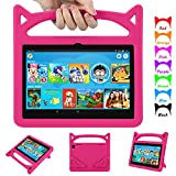 Case for All-New Fire HD 8 & Plus Tablet 2020 - Auorld Lightweight Kid-Proof Shockproof Case with Handle Stand for Fire HD 8 inch Tablets (Latest 10th Generation, 2020 Release)-Pink
