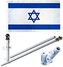 MWS 3'X5' Israel Country Premium 210D 3x5 Flag Set (Super Polyester) w/Heavy Duty 6-Feet Spinning Flag Pole Bracket Residential Commercial