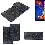 K-S-Trade Filz Schutz Hülle Für Lenovo Z5s Schutzhülle Filztasche Pouch Tasche Hülle Sleeve Handyhülle Filzhülle Dunkelgrau, Blauer Rand