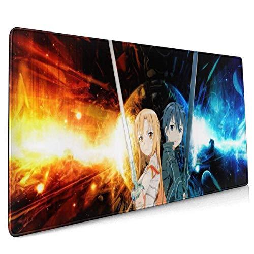 FJXXM Almohadilla De Juego,Alfombrilla De Ratón En Línea De Anime Sword Art, Almohadillas De Escritorio con Borde Cosido para La Oficina En Casa,40x90cm