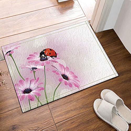 Plant decoratief lieveheersbeestje op madeliefje Kinderbadkamer tapijt toiletdeur mat woonkamer 40X60CM badkameraccessoires