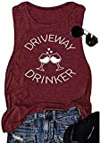 Earlymemb Women Driveway Drinker Letter Print Tank Casual Sleeveless Wine Graphic Tee Beer Graphic Drink T-Shirt (Red-1, L)