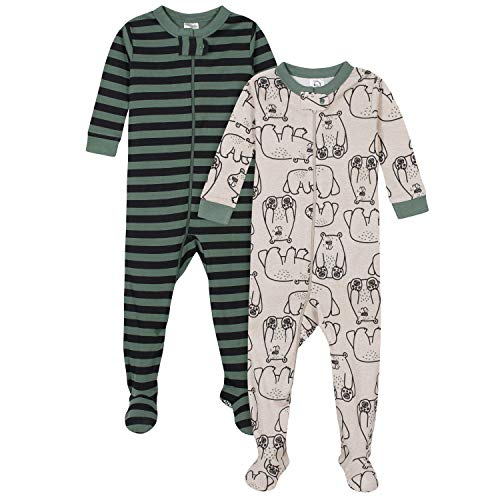 Gerber Baby Boys' 2-Pack Footed Pajamas, Bear Green Stripes White, 6 Months