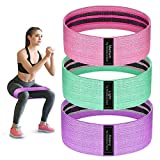 Visanol Resistance Bands for Legs and Butt, Fabric Workout Bands, Perfect Workout Hip Band Resistance. Stretch Hip Bands for Legs, Butt, and Yoga, 3 Pack Set