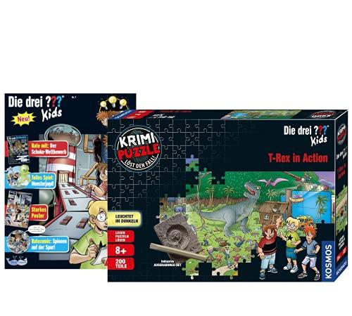 Kosmos Die DREI ??? Kids - Set: T-Rex in Action (Krimi Puzzle) + Die DREI Fragezeichen Magazin Nr. 7 (Comics, Rätsel) inklusive Tresor-Spielzeug