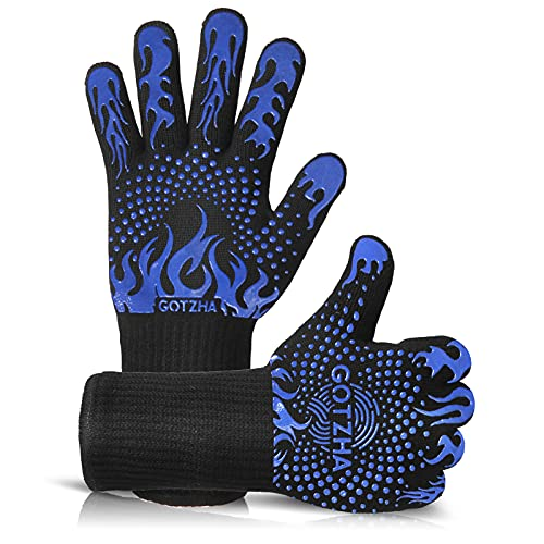 GOTZHA BBQ Gloves for Smoker, 1472℉ Extreme Heat Resistant Gloves, 14 Inch Silicone Non-Slip Grill Gloves with Extra Long Cuff , Safe Oven Gloves for Barbecue, Fryer, Baking, Outdoor Camping