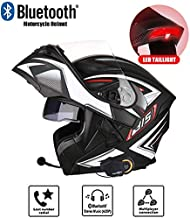 NNYYLL Casco abatible para Motocicleta, Casco Modular de Doble Casco para Motocicleta, Que Incluye Auriculares Bluetooth y Luces traseras LED - FM/walkie Talkie/Llamada Disponibles, L