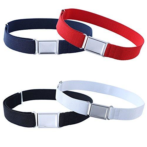 Kajeer 4 Stück Gürtel für Jungen Mädchen Verstellbar - Großer Elastischer Stretchgürtel mit einfacher Magnetschnalle für 2-15 jährige Jungen und Mädchen (Schwarz/Rot/Navy blau/Weiß)