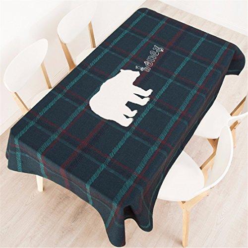 HXC Home tafelkleed, 100 x 140 cm, groen, rood, geruit, fleece beer, Instagram