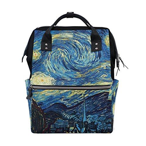 Ahomy Schulranzen Wasserdicht Wanderrucksack Ölgemälde Van Gogh Klassische Sternennacht College Computer Rucksack Arbeit Rucksack für Herren Damen
