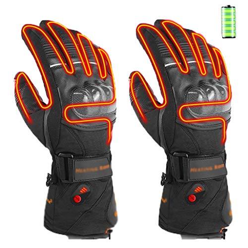 HUO FEI NIAO SHOP Motorrad elektrische Heizung Handschuhe, wasserdicht Touch-Screen verschleißfeste Außen Arthritis Handwärmer, DREI Gänge warm for 8 Stunden zu halten (Farbe : Schwarz, Größe : XL)