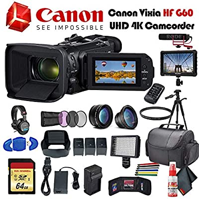 Canon Vixia HF G60 UHD 4K Camcorder (Black) (3670C002) with 2 Extra Batteries, Tripod, Padded Case, LED Light, 64GB Memory Card, Sony Headphones, External 4K Monitor, Rode Mic Go and More by Canon