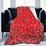 Ding Bandana Colorful Red Paisly Fleece Throw Blanket Warm Super Soft Cozy Fuzzy Blanket Lightweight for Couch,Sofa,Bed All Season