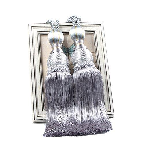 LianLe EIN Paar Vorhang Raffhalter Band Binden Quasten Design Gardine Bänder (Silber Grau)