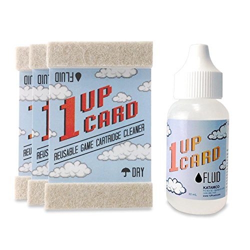 1UPcard Video Game Cartridge Cleaning Kit | 3 Pack of Cards with Cleaning Fluid | Compatible With Nintendo, Super NES, Sega Genesis, N64, Gameboy, Atari & More