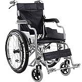 JF-XUAN Ergonómica silla de ruedas ligera 14Kg plegable médico del transporte cómodo reposabrazos respaldo del asiento balanceo de la pierna Resto 100Kg de carga de apoyo 38 × los 40Cm Asiento for min