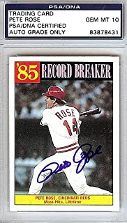 Pete Rose Signed 1986 Topps Record Breakers Card #206 Cincinnati Reds Gem Mint 10 - PSA/DNA Authentication - Autographed MLB Baseball Cards