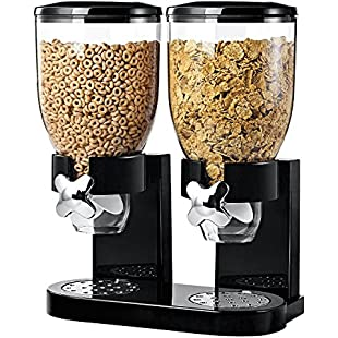 Dual Airtight Cereal And Dry Food Dispenser With Built In Spill Tray For Home, Kitchen, Countertops, Breakfast, Pets, Cat Food, Dog Food, Candy, Pantry, And Meals