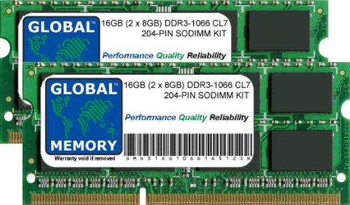 16 GB (2 x 8 GB) DDR3 1066 MHz PC3-8500 204 Pines SODIMM Mem