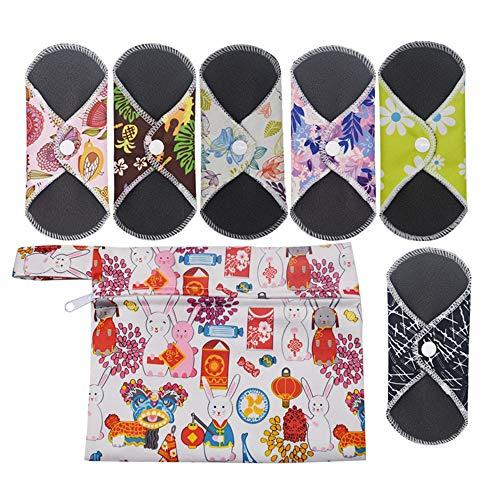 6 Stücke Slipeinlagen Waschbar,Bambusbinden Wiederverwendbare,mit 1 Tragbare Mini Tasche Wiederverwendbare,Bambustuch Mama Menstruationsbinden Handtuchauflage, Weich und Bequem, 16,5 * 16,5 cm