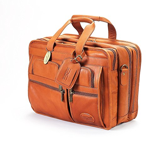 Claire Chase Jumbo Executive Laptop Leather Briefcase, Computer Bag in Saddle