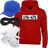 Shirtgeil Kids Panzerknacker Hoodie + MÜTZE + Maske + Handschuhe Kinder Kapuzenpullover Hoodie X-Large Rot