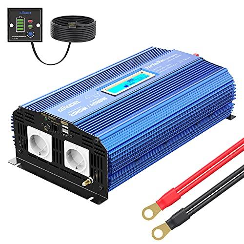 GIANDEL 2000W Reiner Sinus Wechselrichter 12V auf 230V Spannungswandler Power Inverter mit Zwei AC-Steckdosen Dual 2.4A USB-Anschlüsse Fernbedienung & Bildschirm LCD für Wohnmobil