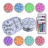 Baalaa Paquete de 3 luces LED sumergibles con 3 x control remoto subacuático 10-LED RGBW luces cambiantes de color impermeables con pilas para base de jarrón, centro de mesa, piscina, estanque
