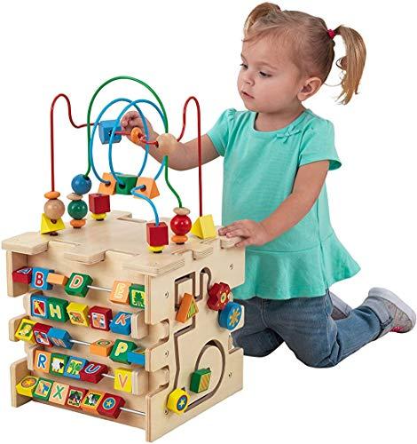 KidKraft 63298 Deluxe Aktivitätswürfel aus Holz – Perlenlabyrinth für Babys und Kinder zum Kennenlernen von Farben, Formen, Buchstaben und Zahlen, Mehrfarbig, 3-5 Jahre
