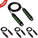 PENGPAI Jump Rope Workout Skipping Rope for Exercise Tangle-Free with Ball Bearings Rapid Speed Jump Rope Memory Foam Handles Fit for Aerobic Exercise Speed Training Endurance Workout (Green+Black)