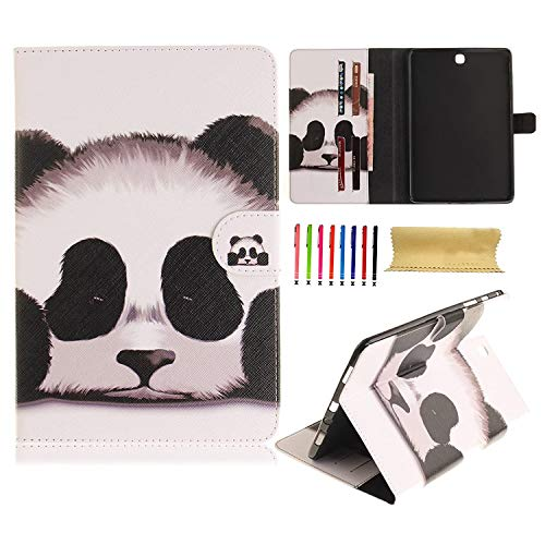 UUcovers T377 Case for Samsung Galaxy Tab E 8.0 inch 2016 Tablet SM-T377A/T377V/T377P/T375/T378 Folio Stand Slim PU Leather Soft TPU Back Shockproof Wallet Magnetic Cover with Card Pockets, Cute Panda