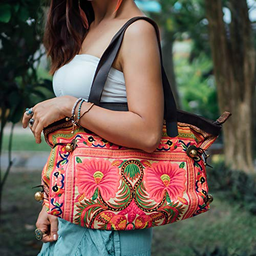 Changnoi Unique Fair Trade Women's Shoulder Bag with Hmong Embroidered, Genuine Leather Straps