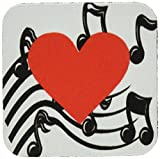 3dRose CST_38293_2 Large Red Heart on Music Notes Soft Coasters, Set of 8