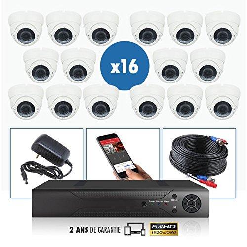 Kit de videovigilancia 16 cámaras Pro Full AHD 1080P Sony 2.4 MP – 4000 GB incluido, 8 cables de 40 m + 8 x 20 m, sin pantalla