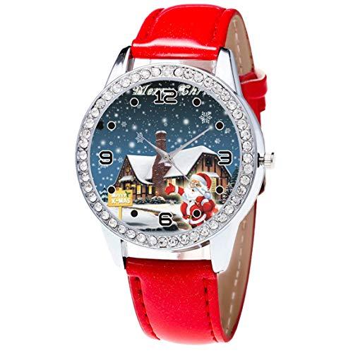 Moonuy 1PC Uhren für Frauen Uhr Weihnachten Leder Uhr Diamant Band Haken Schnalle Einfache Analog Quarz Vogue Armbanduhren GIF