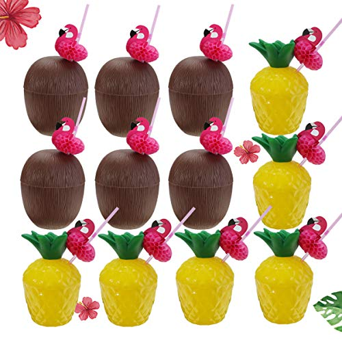 Pineapple Drink Cups Coconut Cups 12PCS Leak Prevention Drink Cups Hawaiian Luau Plastic Party Cups with Flamingo Straws, Hawaii Party Cups Beach Events Children's Party