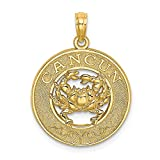 14ct Yellow Gold Cancun on Round Frame with Crab Charm Pendant