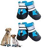Dricar Zapatos para perros, 4 piezas de botas para caminar para proteger las patas, zapatos antideslizantes impermeables para perro con correas reflectantes ajustables para perro