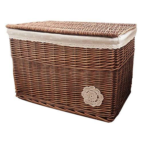 ZHICHUAN Advanced Wicker Basket Shopper Hamper with White Lining Traditional Storage Box Storage Box with a Lid Home Organizer Bins Handmade Roll Paper Holder / 50 * 35 * 35cm