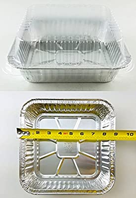Durable Packaging Square Cake Aluminum Foil Pan w/Clear Lid 50 Sets - Disposable Baking Pans (pack of 50)