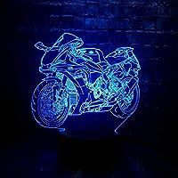 3D夜のライト、子供のための3D夜のライト、3Dイリュージョンランプ、3 d LedナイトライトLEDライトオートバイの形の車7色変更マン少年ギフトベッドルーム装飾的なモトおもちゃ