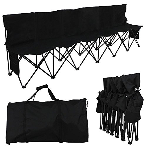 Yaheetech 6 Seats Foldable Sideline Bench for Sports Team Camping Folding Bench Chairs Black