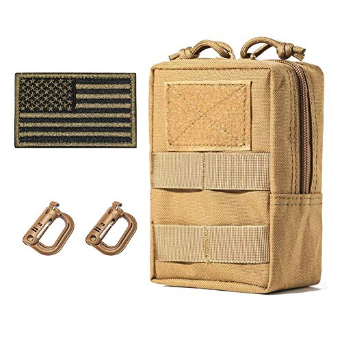 Molle Gear Pouches,Tactical Military Back Pouch,Molle Attachments Waterproof Small Utility Pouch (Small Pouches Khaki)