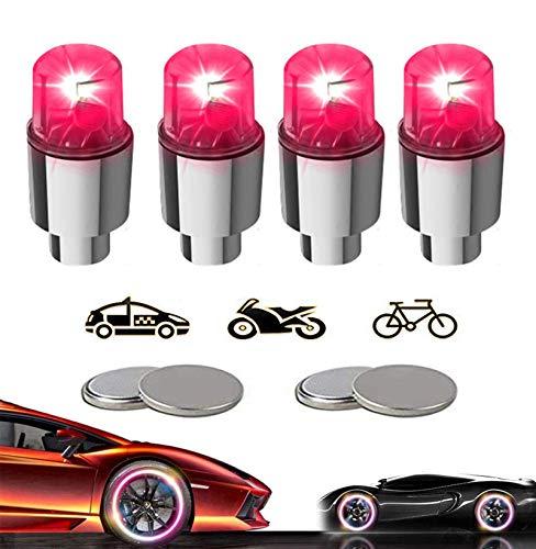 KYECOCO 4 Stück LED Ventilkappen Fahrrad Reifen Beleuchtung Speichenlicht Fahrrad Ventilschaftkappe Licht Autozubehör für Fahrrad Auto Motorrad oder LKW mit 10 Zusätzlichen Batterien(Rot)