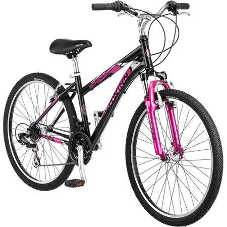 26 Schwinn Sidewinder Womens Mountain Bike, Matte Black/Pink