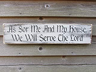 Vontuxe As for Me and My House We Will Serve The Lord Rustic Wood Sign Wooden Plaque Wall Decor Home Decoration